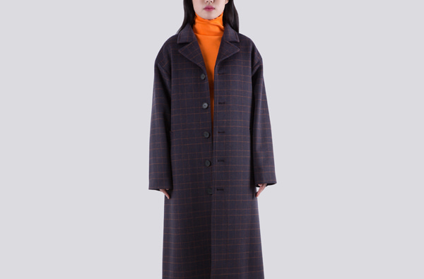 CROSSED ORANGE AND NAVY CHECK COAT